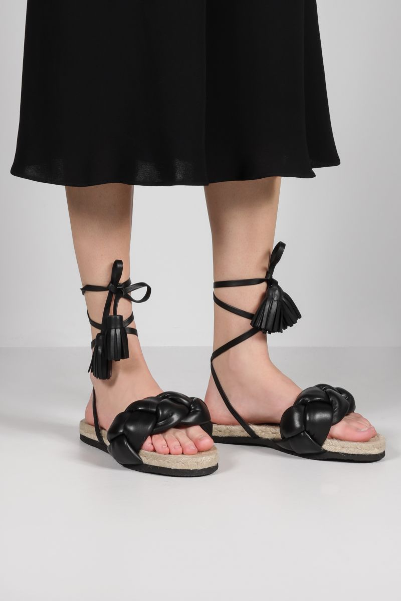 MSGM: woven nappa flat sandals Color Black_2