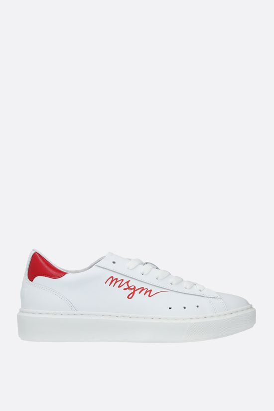 MSGM: logo-detailed smooth leather sneakers Color Red_1