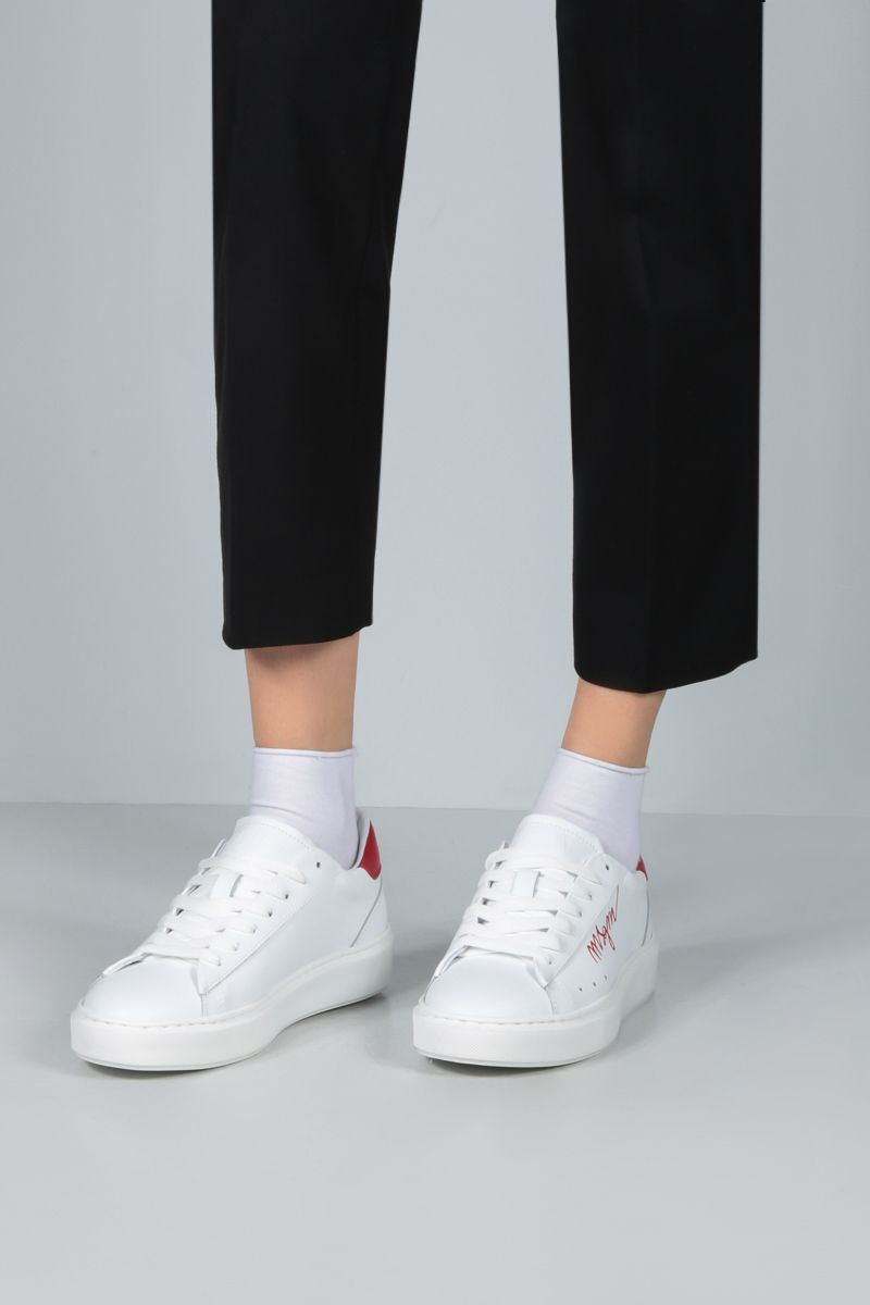 MSGM: logo-detailed smooth leather sneakers Color Red_2