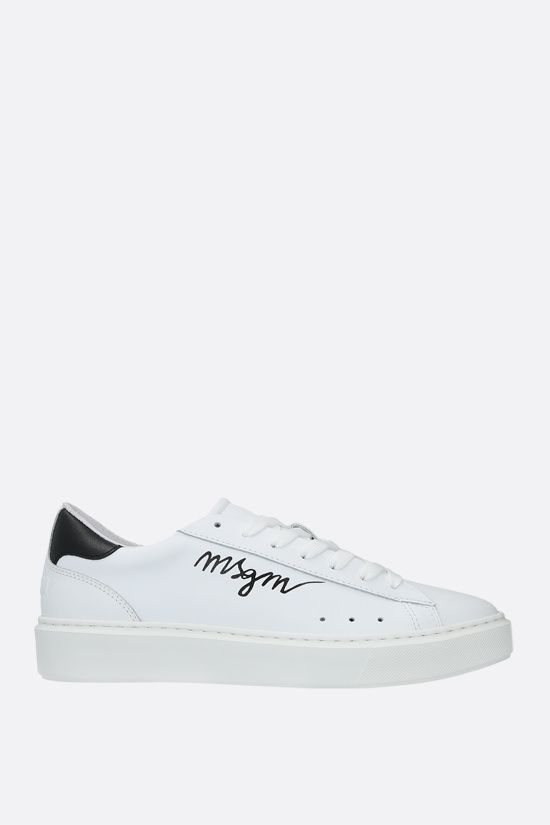 MSGM: logo-detailed smooth leather sneakers Color Black_1