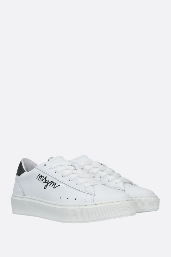 MSGM: logo-detailed smooth leather sneakers Color Black_2