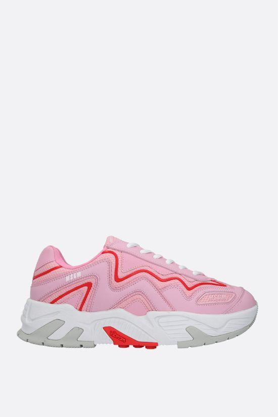 MSGM: smooth leather and mesh sneakers Color Pink_1