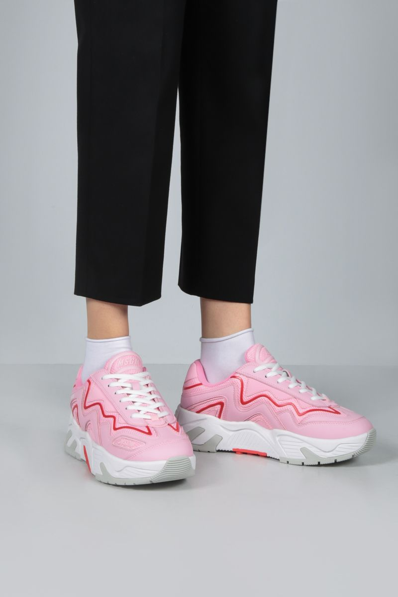 MSGM: smooth leather and mesh sneakers Color Pink_2