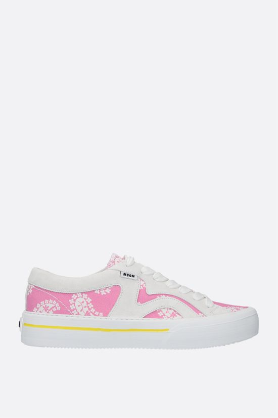MSGM: paisley printed canvas and suede sneakers Color Pink_1