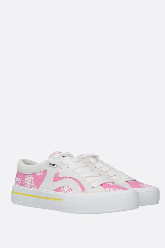 MSGM: paisley printed canvas and suede sneakers Color Pink_2
