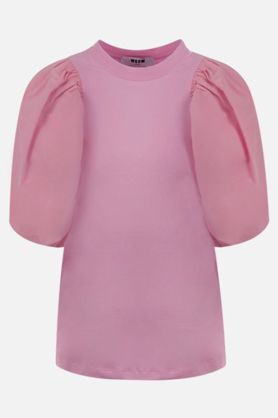 MSGM: puff sleeved cotton t-shirt Color Pink_1