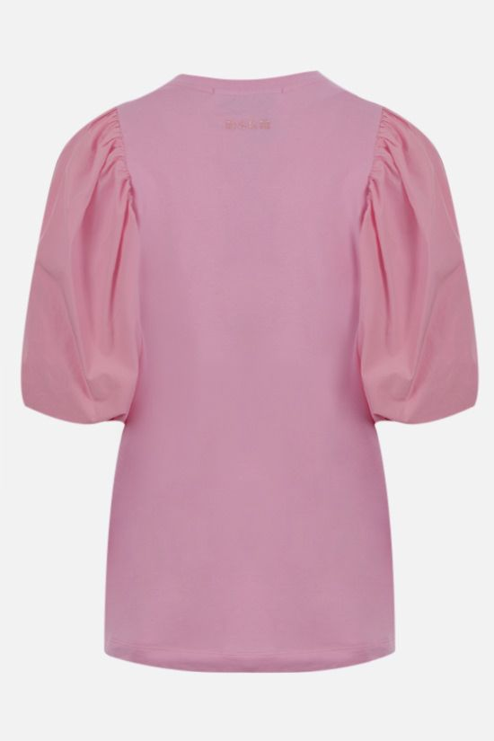 MSGM: puff sleeved cotton t-shirt Color Pink_2