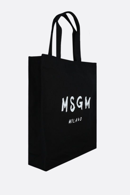 MSGM: logo print canvas shopping bag Color Black_2