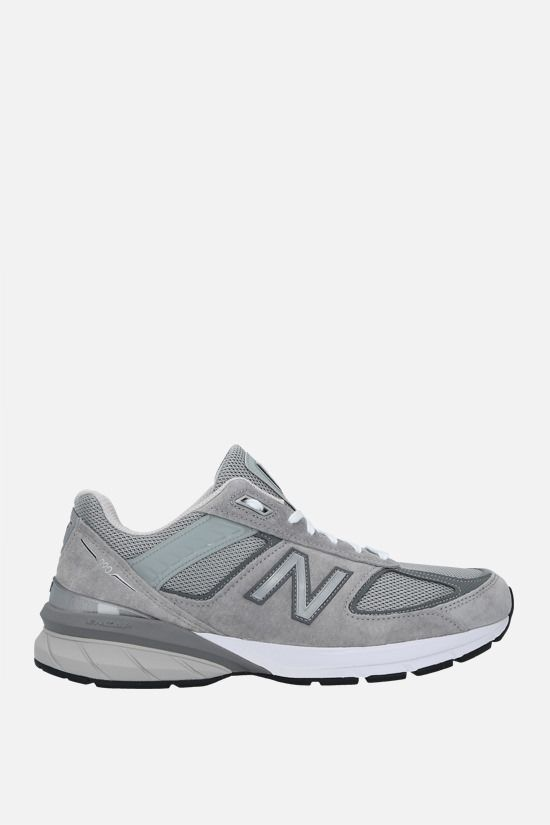 NEW BALANCE: 990V5 suede and mesh sneakers Color Grey_1