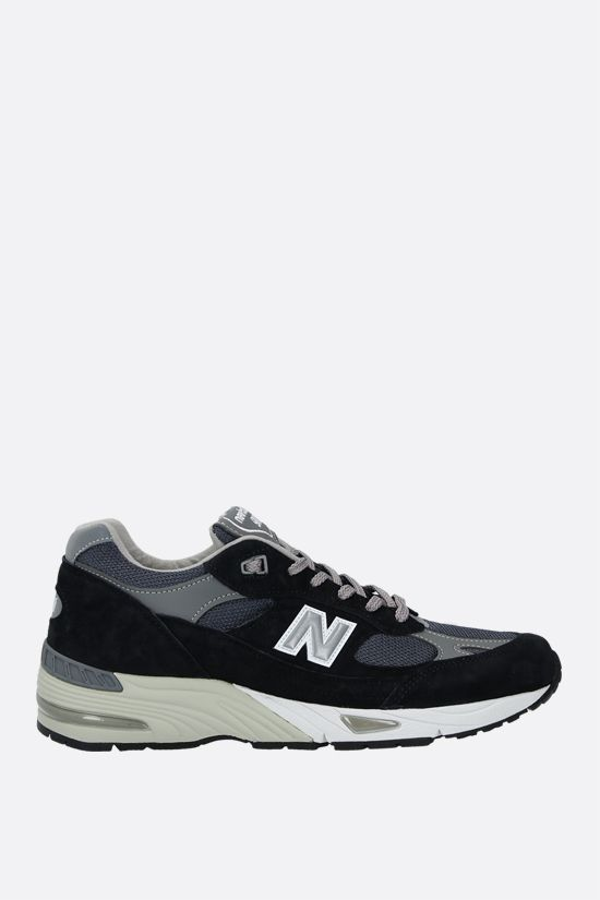 NEW BALANCE: 991 sneakers in a mix of materials Color Blue_1