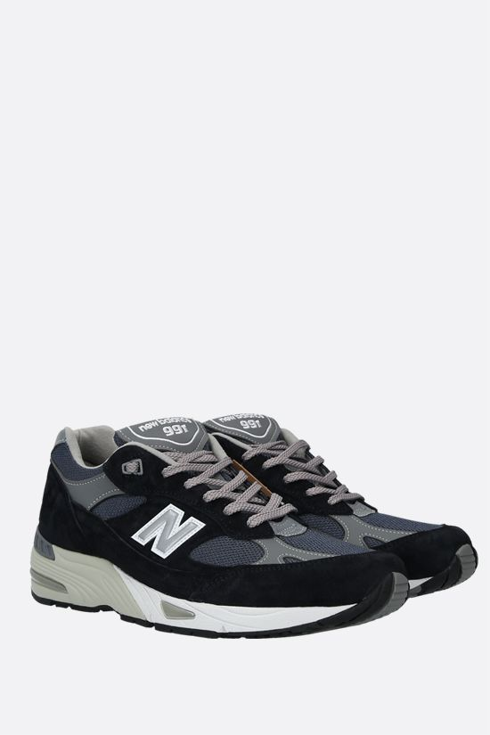 NEW BALANCE: 991 sneakers in a mix of materials Color Blue_2
