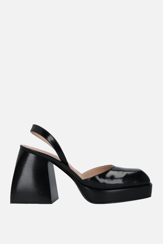 NODALETO: Bulla Jones shiny leather slingbacks Color Black_1