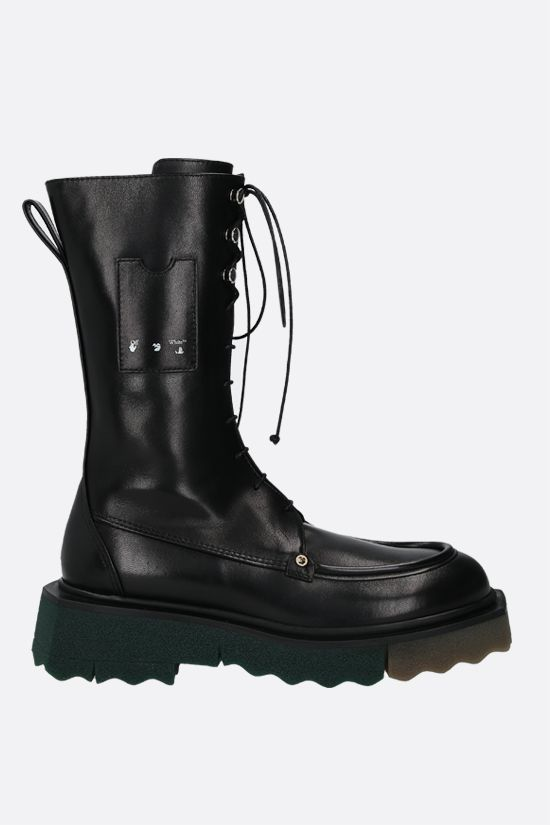 OFF WHITE: Sponge smooth leather combat boots Color Black_1