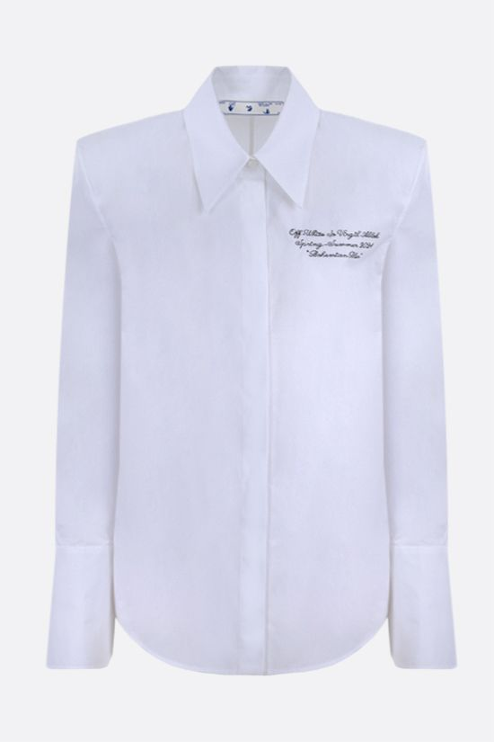 OFF WHITE: logo embroidered cotton shirt Color White_1