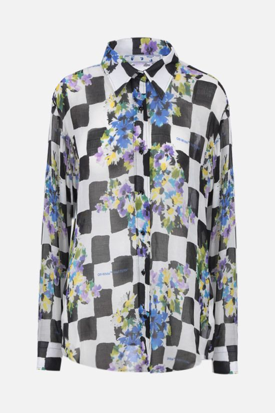 OFF WHITE: Check Flowers silk blend shirt Color Black_1