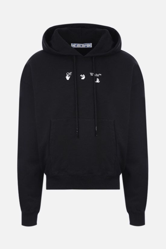 OFF WHITE: Marker cotton hoodie Color Black_1