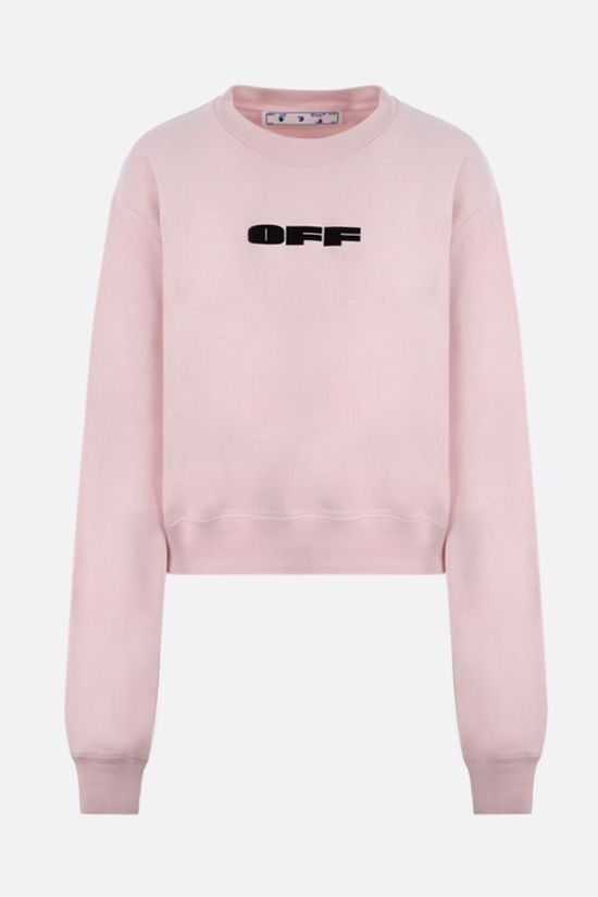 OFF WHITE: felpa cropped OFF Bold in cotone Colore Rosa_1