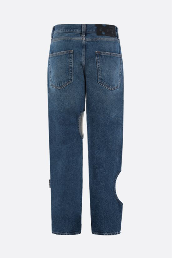 OFF WHITE: jeans baggy-fit Holes Colore Blu_2
