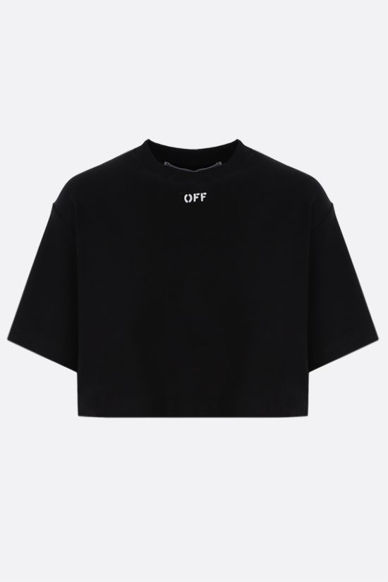 OFF WHITE: OFF print stretch cotton cropped t-shirt Color Black_1