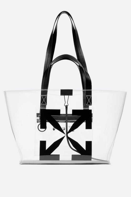 OFF WHITE: borsa tote Arrow small in PVC Colore Nero_1