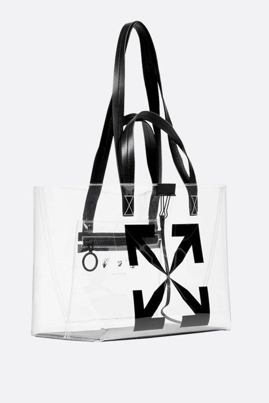 OFF WHITE: borsa tote Arrow small in PVC Colore Nero_2