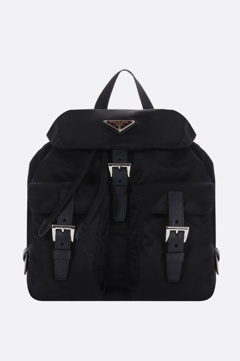 PRADA: logo-detailed nylon small backpack Color Black_1