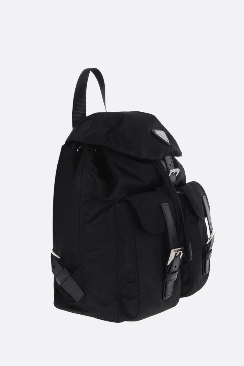 PRADA: logo-detailed nylon small backpack Color Black_2