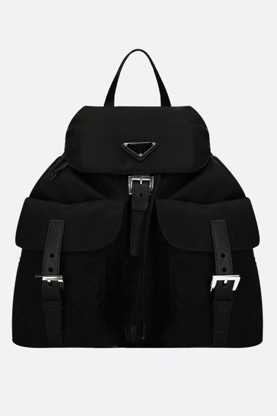 PRADA: logo-detailed nylon medium backpack Color Black_1