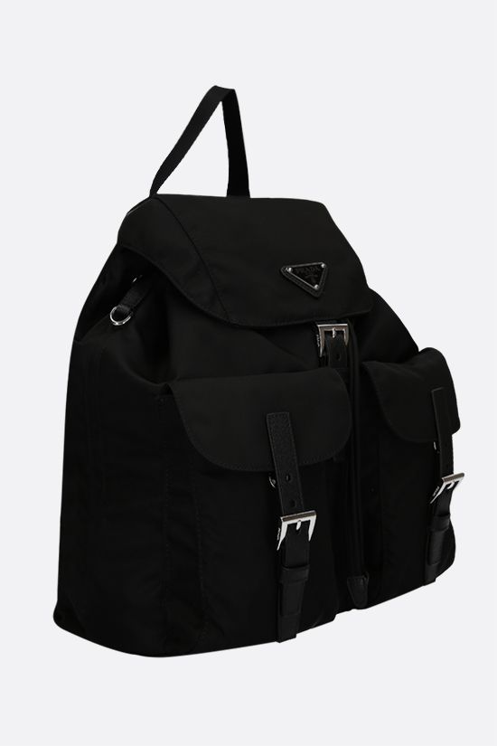 PRADA: logo-detailed nylon medium backpack Color Black_2