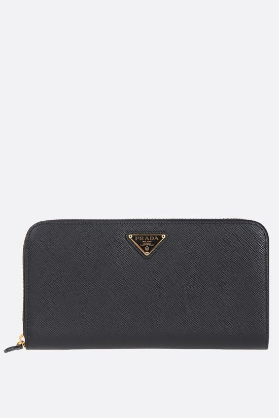PRADA: Saffiano leather zip-around wallet Color Black_1