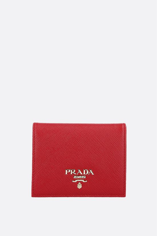 PRADA: Saffiano leather french wallet Color Red_1