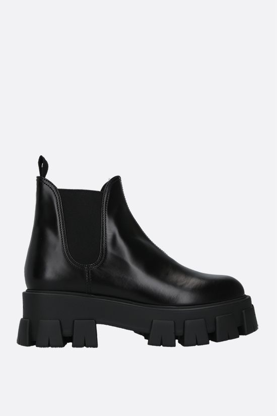 PRADA: Monolith brushed leather booties Color Black_1