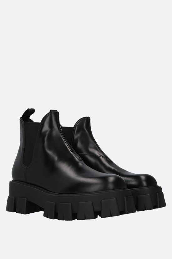 PRADA: Monolith brushed leather booties Color Black_2