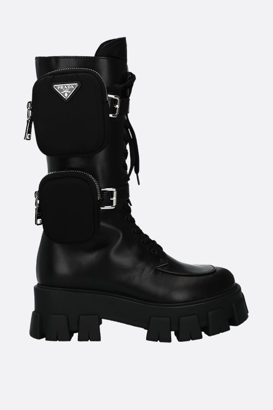 PRADA: Monolith combat boots in Lux leather Color Black_1