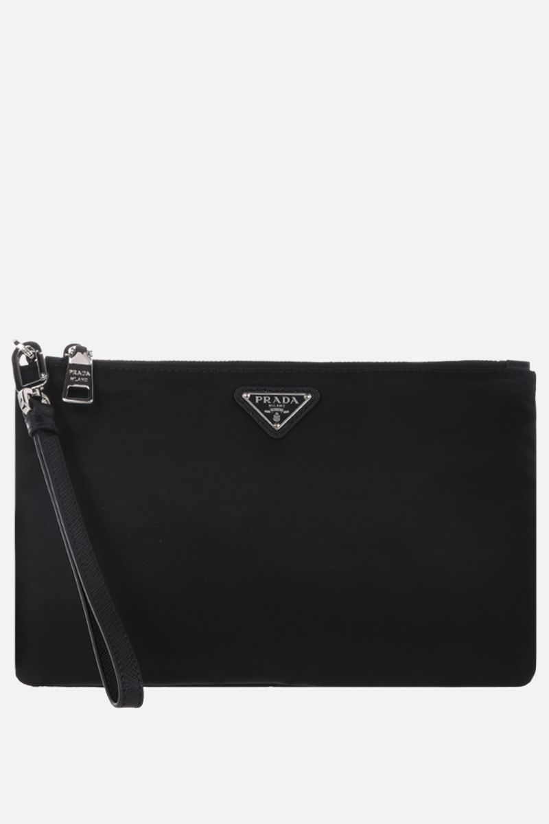 PRADA: Saffiano leather-detailed nylon pouch Color Black_1