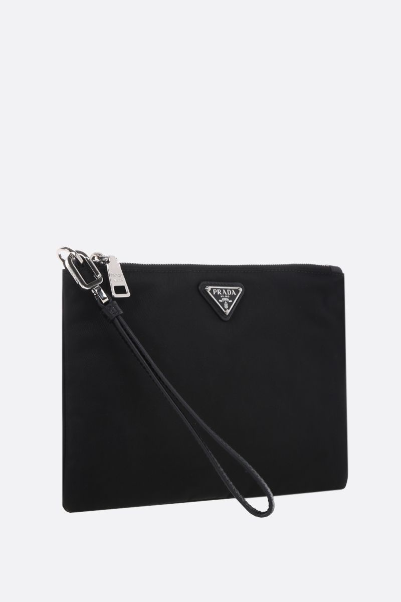 PRADA: Saffiano leather-detailed nylon pouch Color Black_2