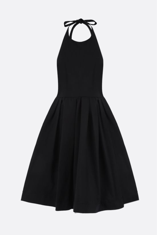 PRADA: halter neckline-detailed cotton short dress Color Black_1