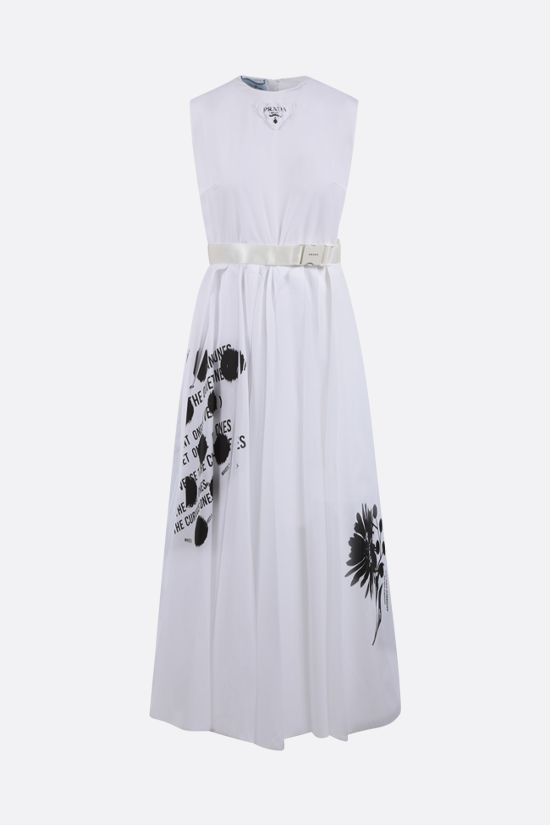 PRADA: printed poplin midi dress Color White_1