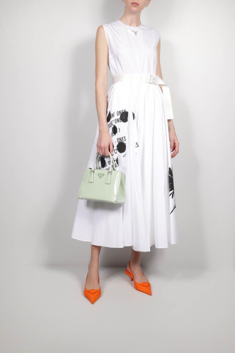 PRADA: printed poplin midi dress Color White_2