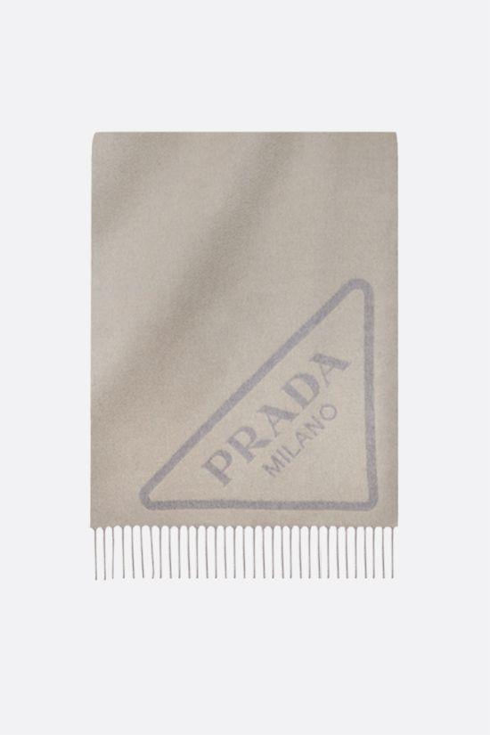 PRADA: jacquard logo cashmere blanket Color Neutral_1