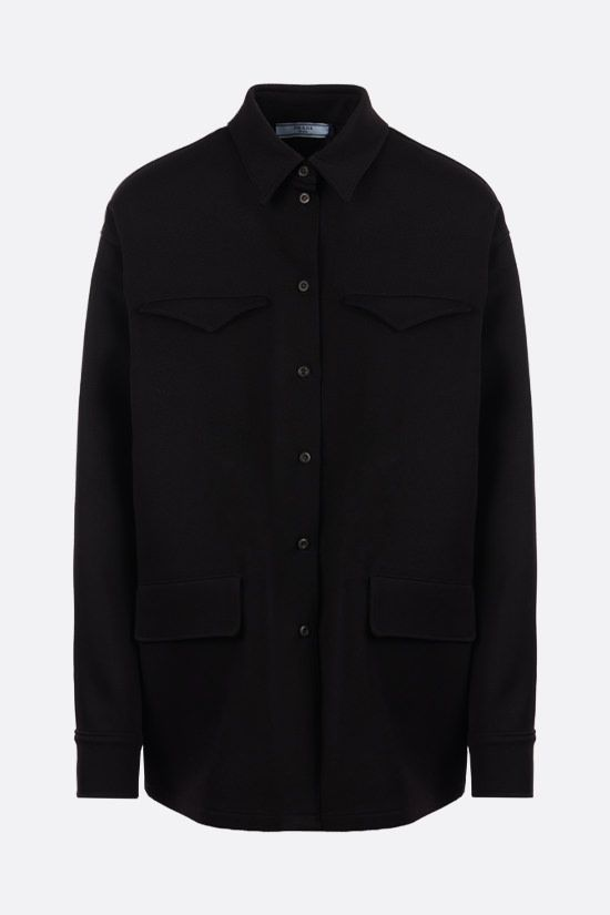 PRADA: wool gabardine shirt Color Black_1
