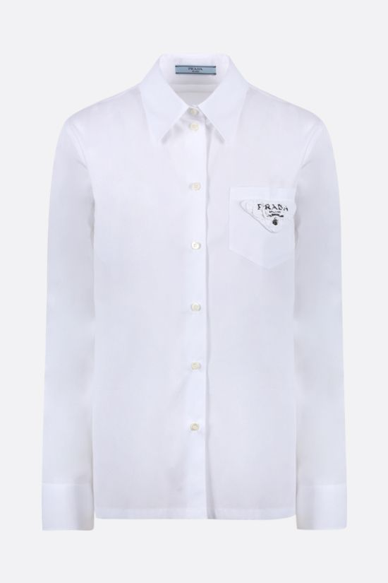 PRADA: logo-detailed poplin shirt Color White_1