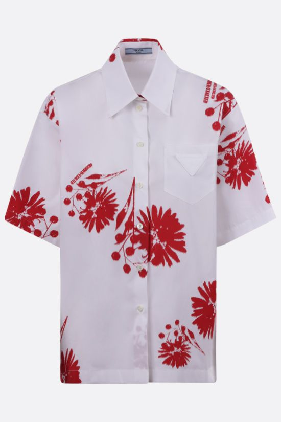 PRADA: printed poplin bowling shirt Color White_1