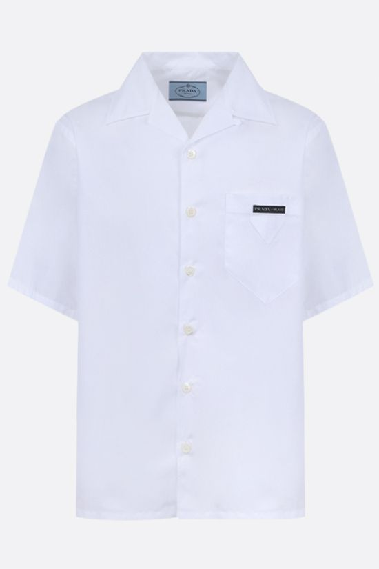 PRADA: logo-detailed cotton bowling shirt Color White_1