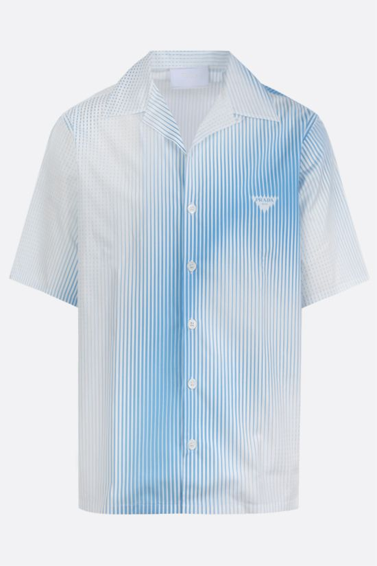 PRADA: Digital Stripe print poplin bowling shirt Color White_1