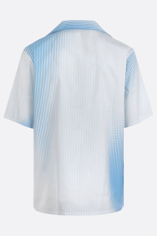PRADA: Digital Stripe print poplin bowling shirt Color White_2