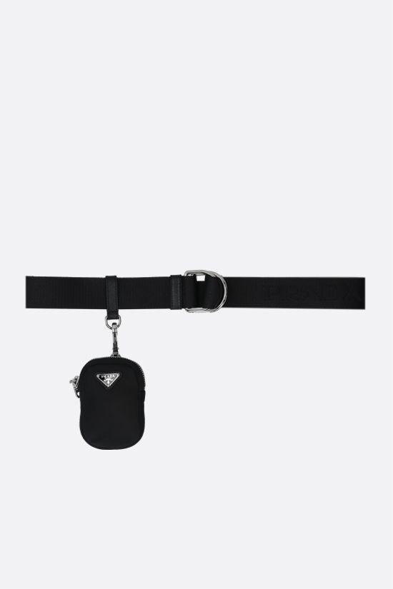 PRADA: pouch-detailed nylon belt Color Black_1