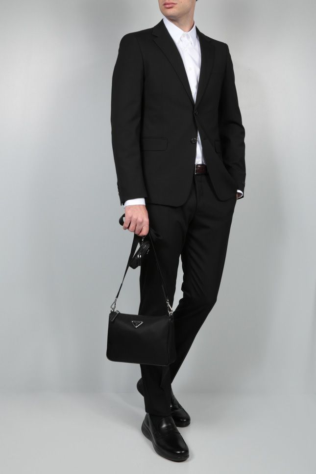 PRADA: stretch wool two-piece suit Color Black_2