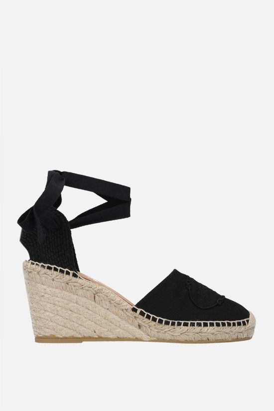 PRADA: logo embroidered canvas wedge espadrilles Color Black_1