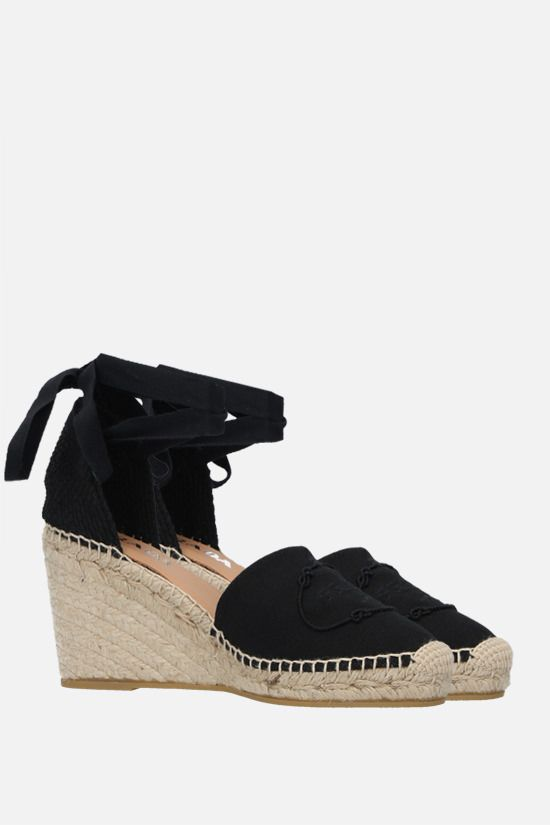 PRADA: logo embroidered canvas wedge espadrilles Color Black_2